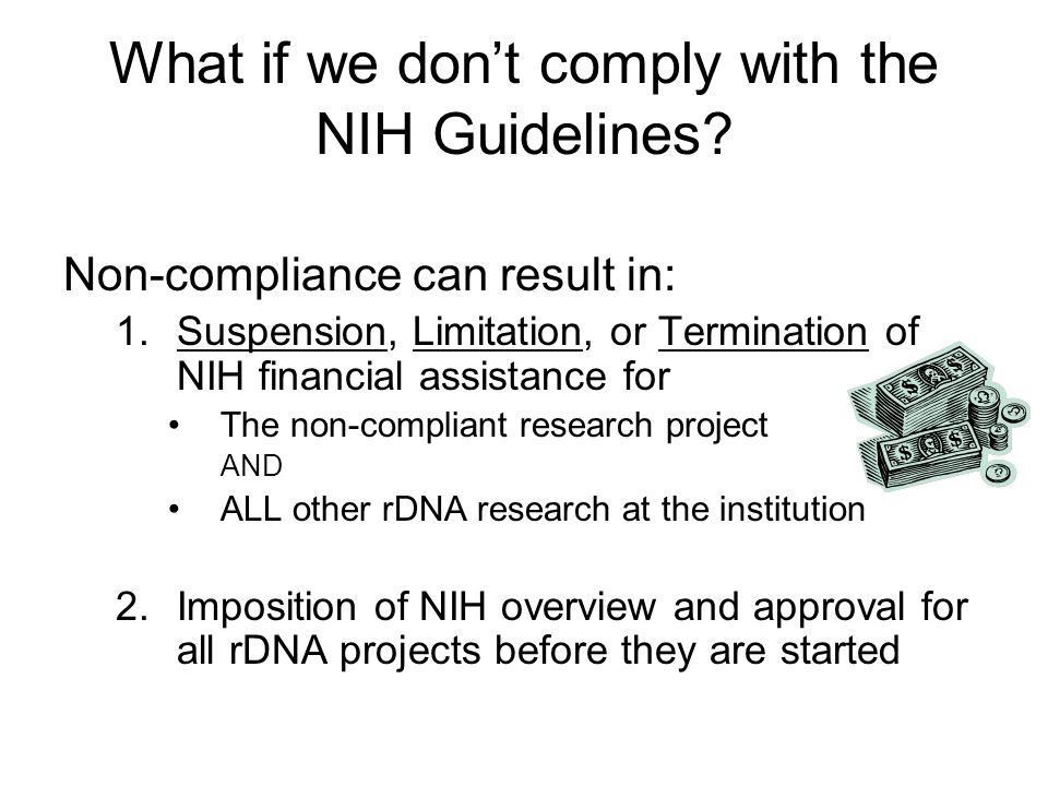 Know the NIH Guidelines Section III NIH Guidelines Sections III-A, III-B, III-C rDNA work requiring NIH/OBA and IBC approval before initiation NIH Guidelines Section III-D rDNA work that must be approved by the IBC before initiation NIH Guidelines Section III-E rDNA work that requires notification to the IBC simultaneous to initiation