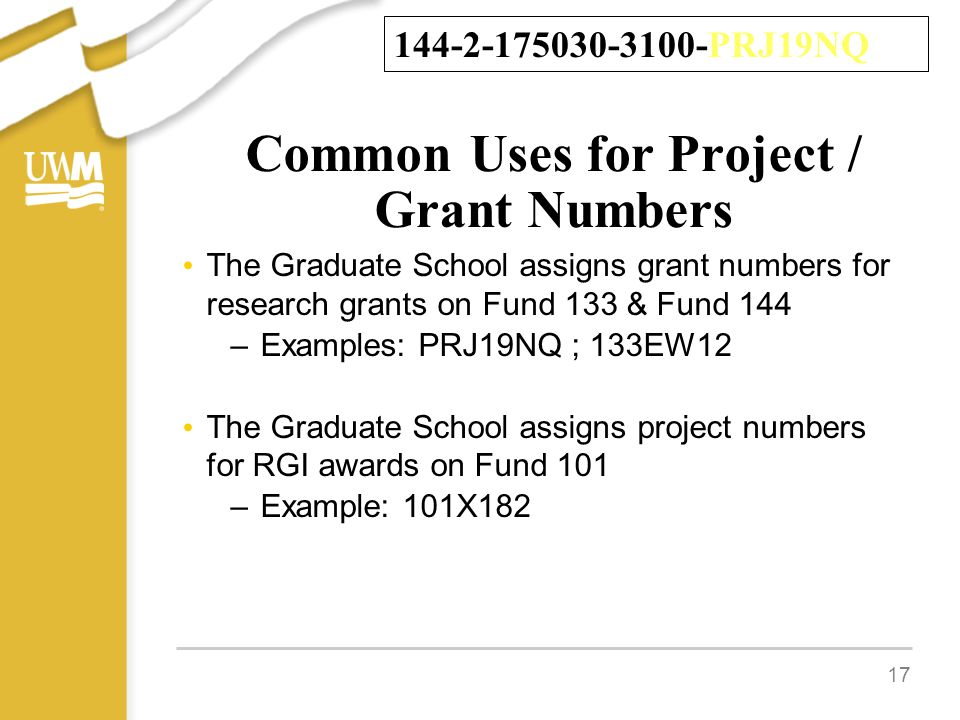 Common Uses for Project / Grant Numbers The Graduate School assigns grant numbers for research grants on Fund 133 & Fund 144 –Examples: PRJ19NQ ; 133EW12 The Graduate School assigns project numbers for RGI awards on Fund 101 –Example: 101X182 17 144-2-175030-3100-PRJ19NQ