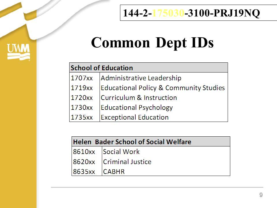 Common Dept IDs 9 144-2-175030-3100-PRJ19NQ