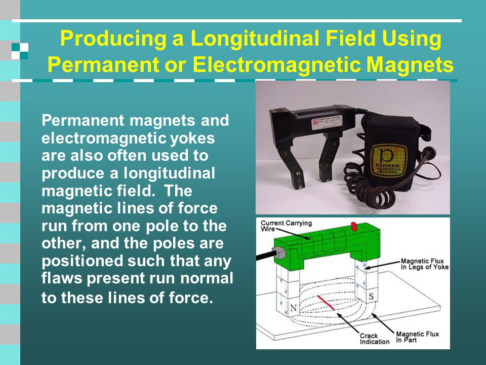 Producing a Longitudinal Field Using Permanent or Electromagnetic Magnets Permanent magnets and electromagnetic yokes are also often used to produce a