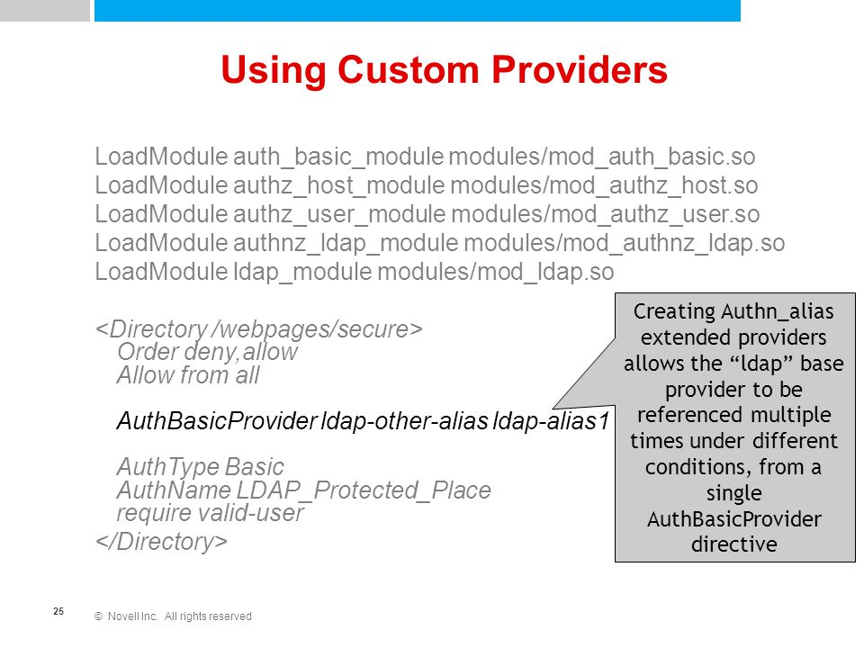 "© Novell Inc. All rights reserved 25 Using Custom Providers Creating Authn_alias extended providers allows the ""ldap"" base provider to be referenced m"