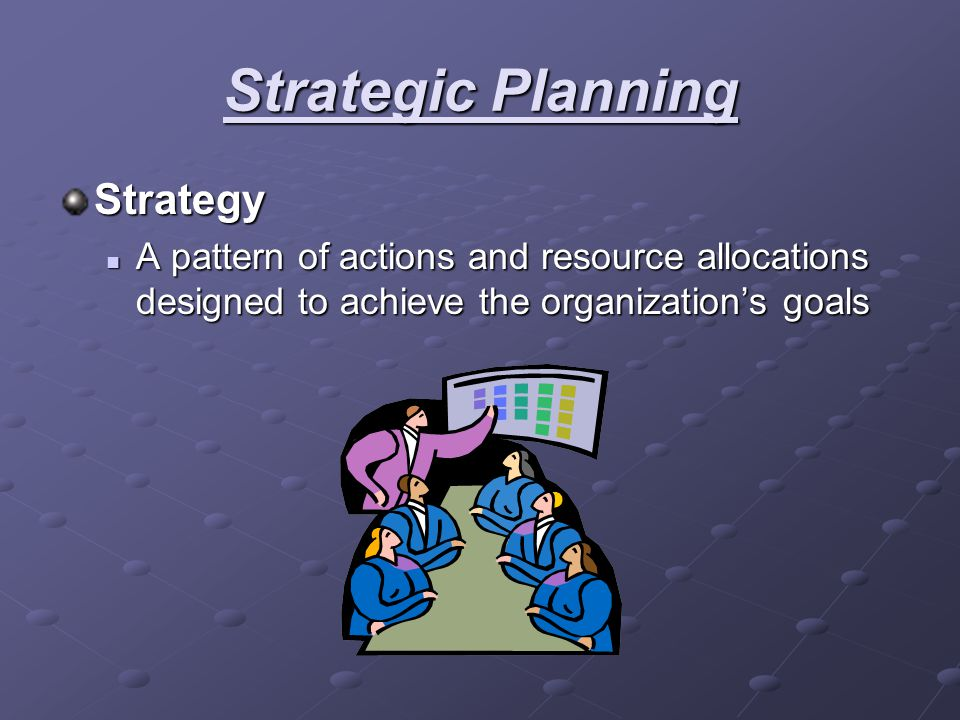 Strategic Planning Strategy A pattern of actions and resource allocations designed to achieve the organization's goals A pattern of actions and resour
