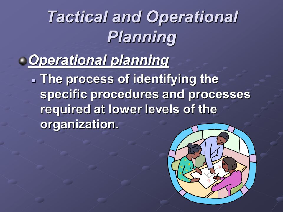 Tactical and Operational Planning Operational planning The process of identifying the specific procedures and processes required at lower levels of th