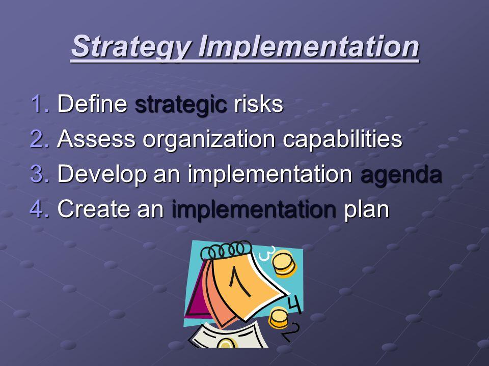Strategy Implementation 1.Define strategic risks 2.Assess organization capabilities 3.Develop an implementation agenda 4.Create an implementation plan