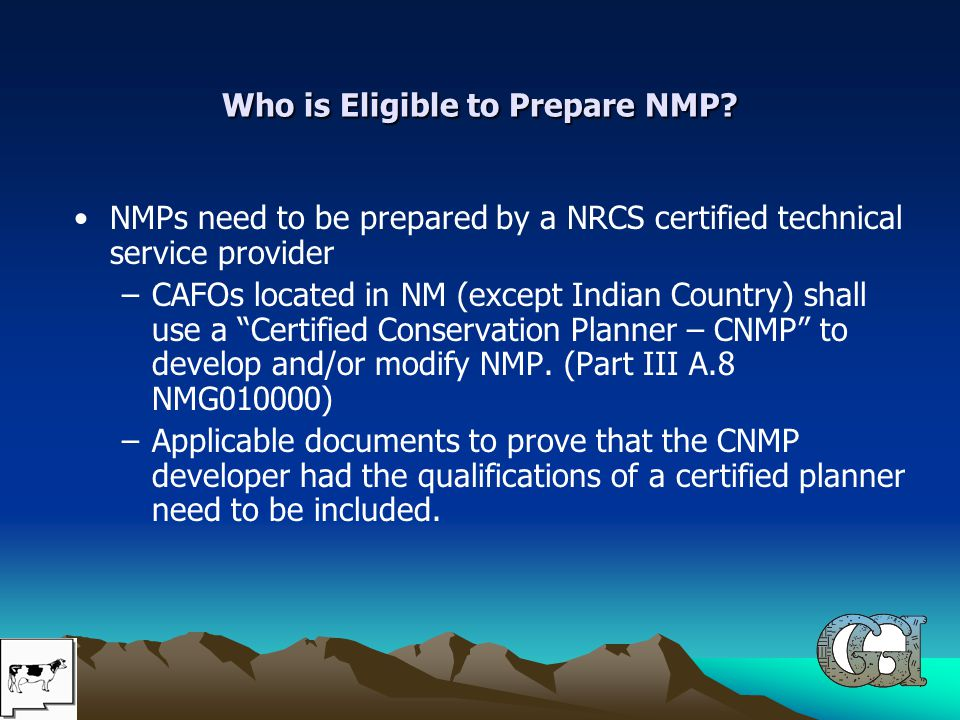 Who is Eligible to Prepare NMP.