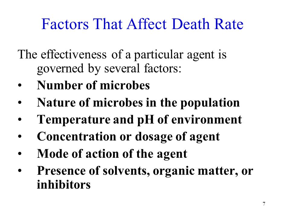 7 Factors That Affect Death Rate The effectiveness of a particular agent is governed by several factors: Number of microbes Nature of microbes in the