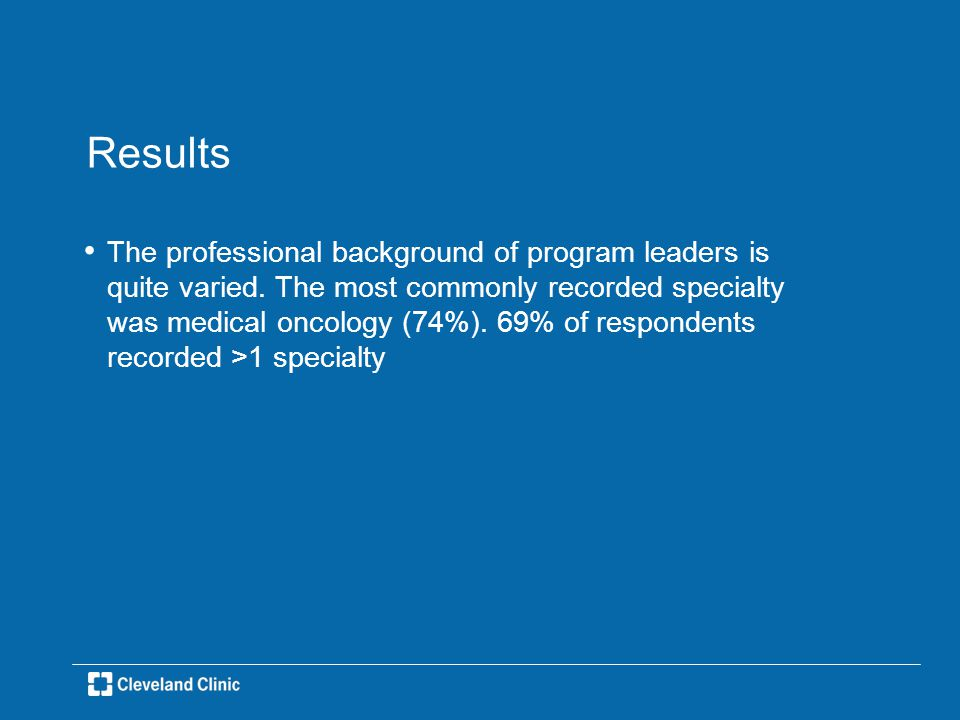 Results The professional background of program leaders is quite varied.