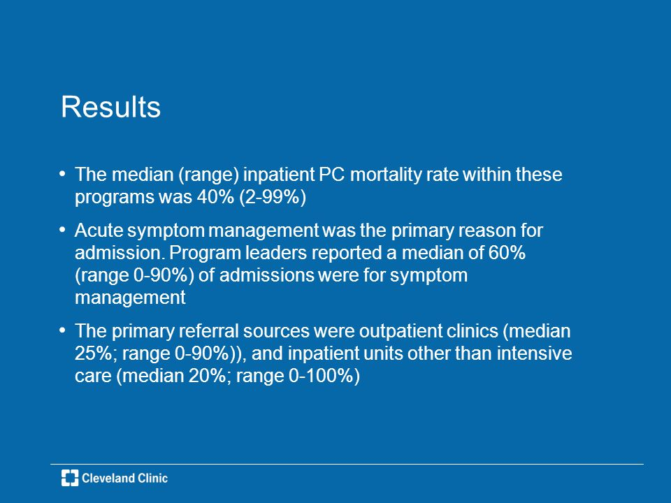 Results The median (range) inpatient PC mortality rate within these programs was 40% (2-99%) Acute symptom management was the primary reason for admission.
