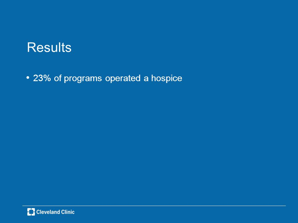Results 23% of programs operated a hospice