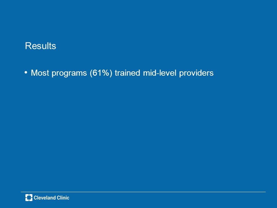 Results Most programs (61%) trained mid-level providers