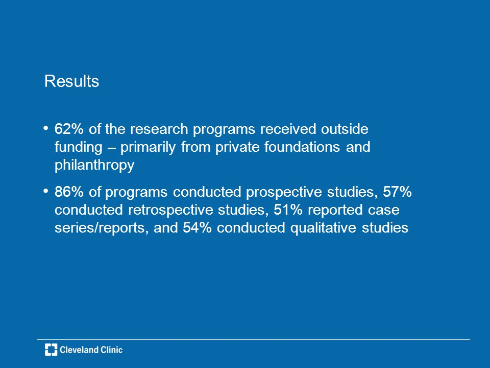Results 62% of the research programs received outside funding – primarily from private foundations and philanthropy 86% of programs conducted prospective studies, 57% conducted retrospective studies, 51% reported case series/reports, and 54% conducted qualitative studies