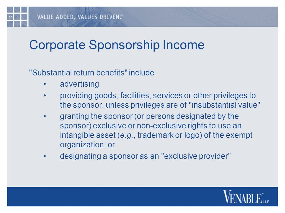 11 Corporate Sponsorship Income