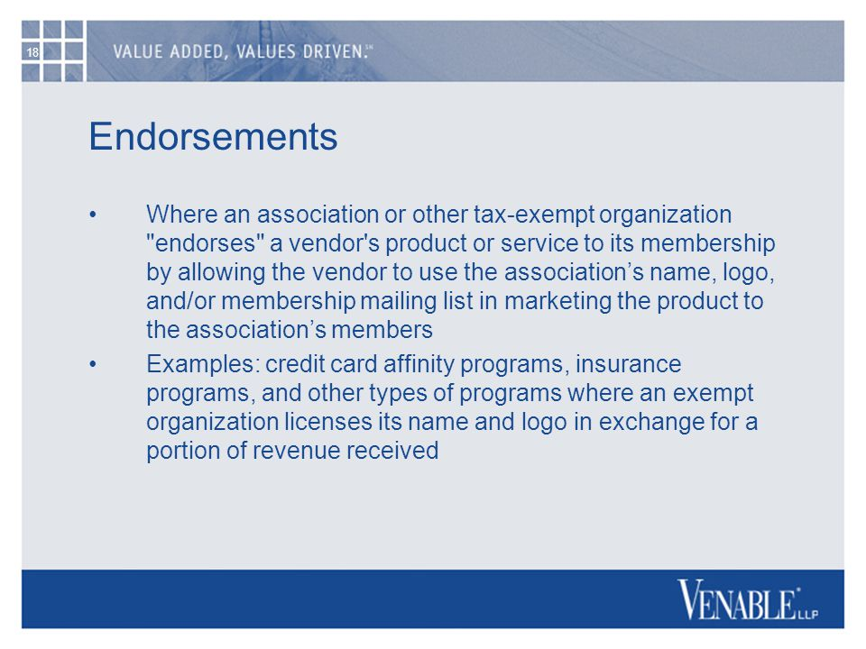 18 Endorsements Where an association or other tax-exempt organization