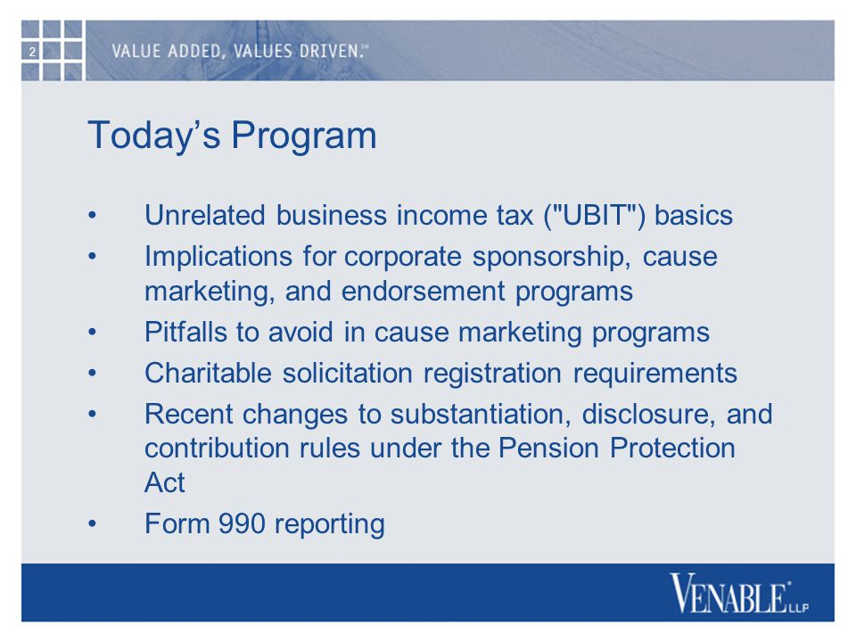 2 Today's Program Unrelated business income tax (