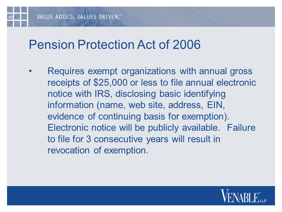 40 Pension Protection Act of 2006 Requires exempt organizations with annual gross receipts of $25,000 or less to file annual electronic notice with IR