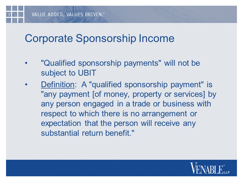 7 Corporate Sponsorship Income