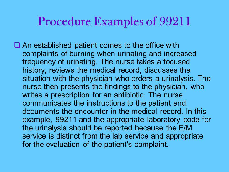 Procedure Examples of 99211  An established patient comes to the office with complaints of burning when urinating and increased frequency of urinating.