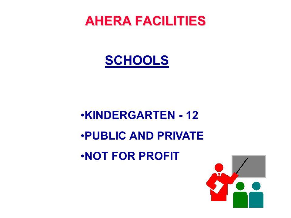 AHERA FACILITIES SCHOOLS KINDERGARTEN - 12 PUBLIC AND PRIVATE NOT FOR PROFIT