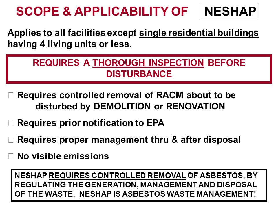 SCOPE & APPLICABILITY OF Applies to all facilities except single residential buildings having 4 living units or less.