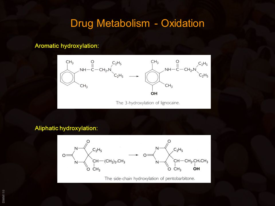 BIMM118 Drug Metabolism - Oxidation Aliphatic hydroxylation: Aromatic hydroxylation: