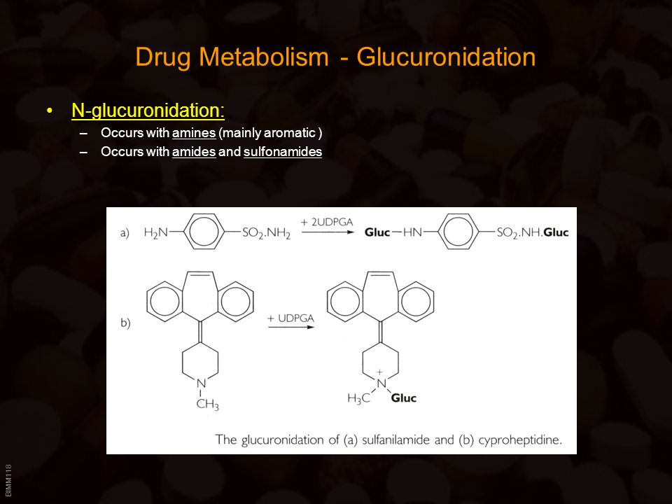 BIMM118 Drug Metabolism - Glucuronidation N-glucuronidation: –Occurs with amines (mainly aromatic ) –Occurs with amides and sulfonamides