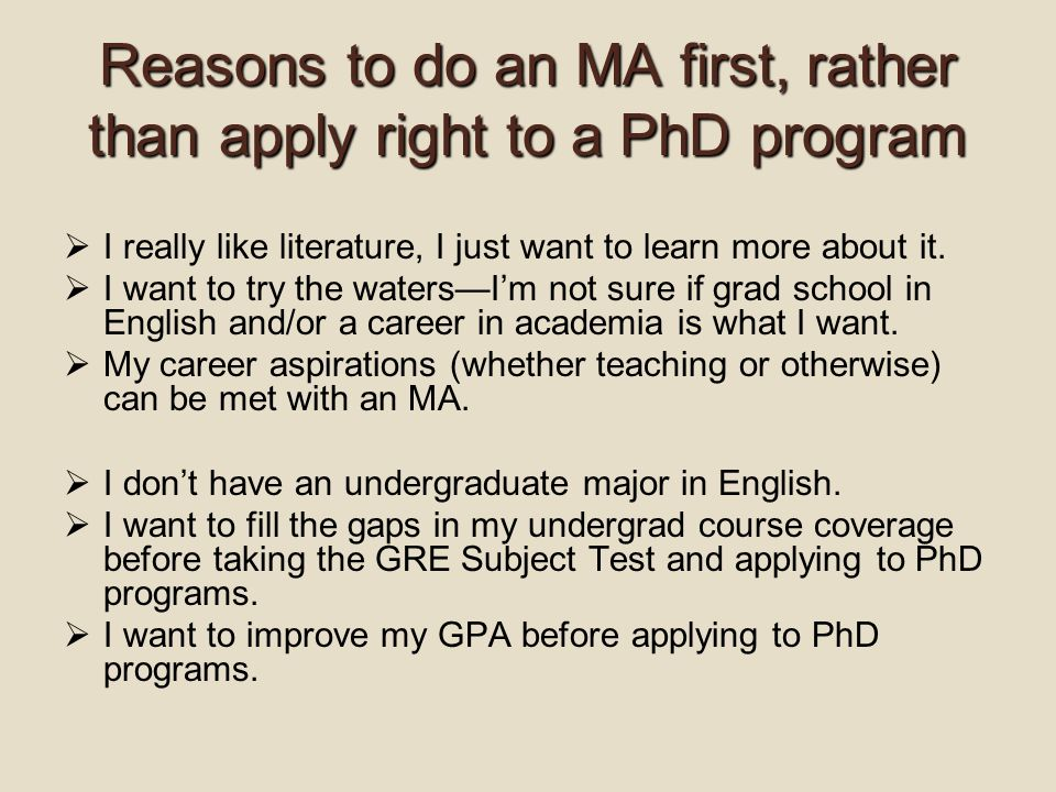 Reasons to do an MA first, rather than apply right to a PhD program  I really like literature, I just want to learn more about it.