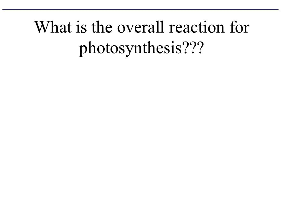 What is the overall reaction for photosynthesis???