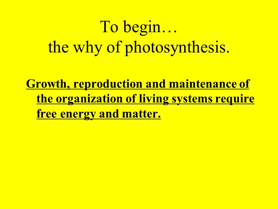 To begin… the why of photosynthesis. Growth, reproduction and maintenance of the organization of living systems require free energy and matter.