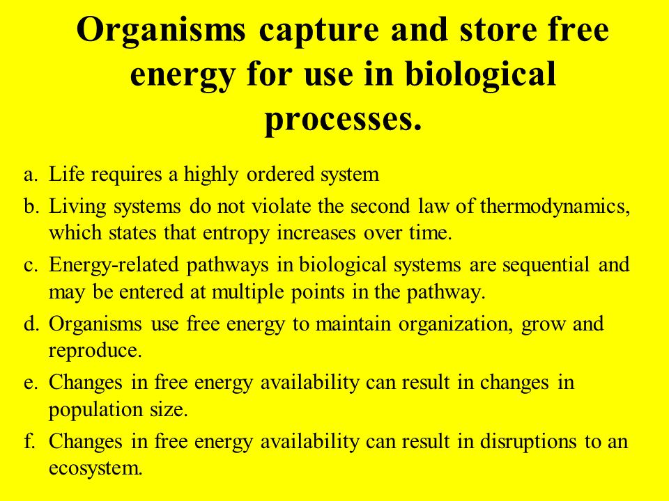 Organisms capture and store free energy for use in biological processes. a.Life requires a highly ordered system b.Living systems do not violate the s