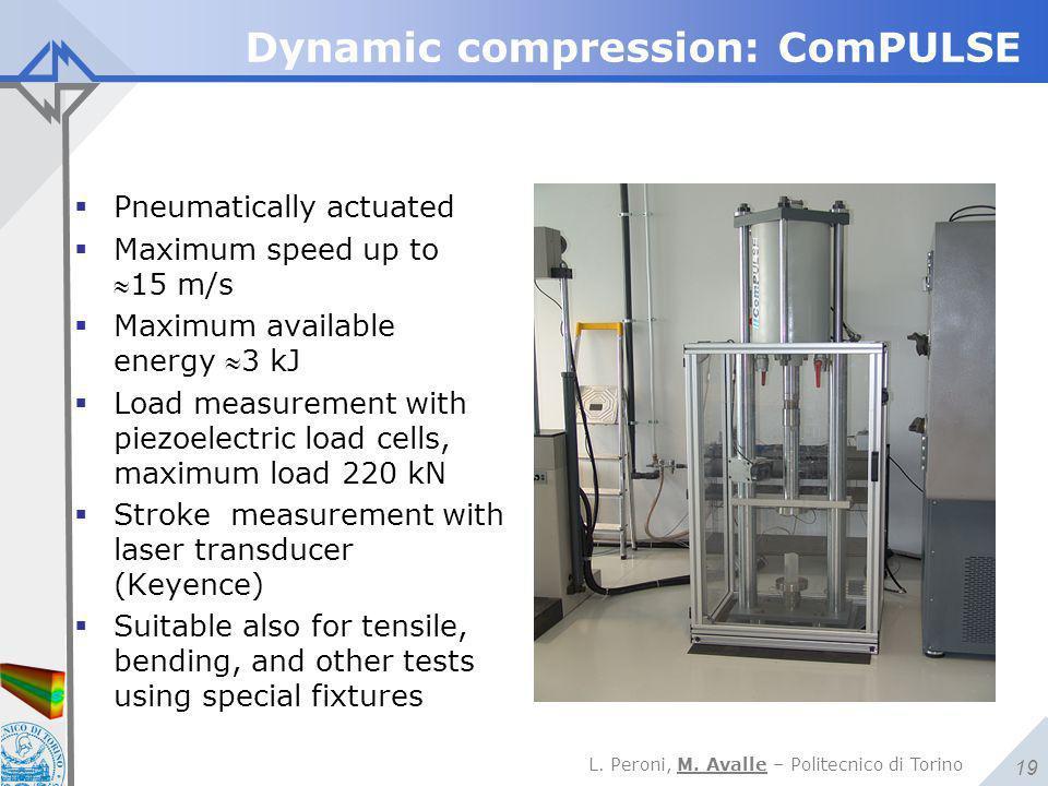L. Peroni, M. Avalle – Politecnico di Torino 19 Dynamic compression: ComPULSE  Pneumatically actuated  Maximum speed up to 15 m/s  Maximum availab