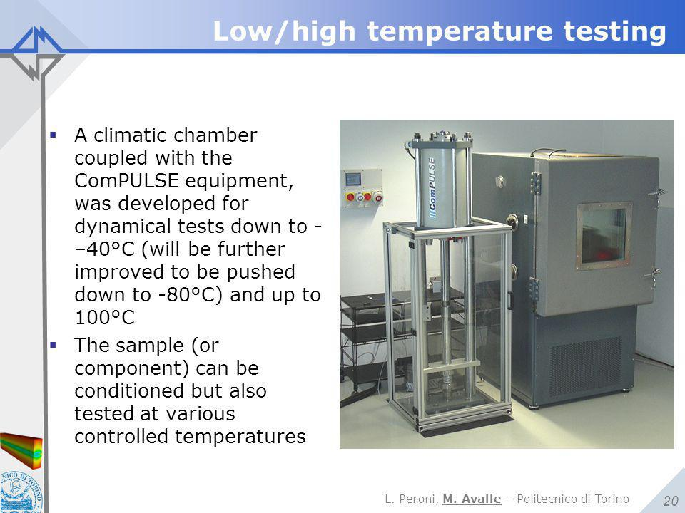 L. Peroni, M. Avalle – Politecnico di Torino 20 Low/high temperature testing  A climatic chamber coupled with the ComPULSE equipment, was developed f