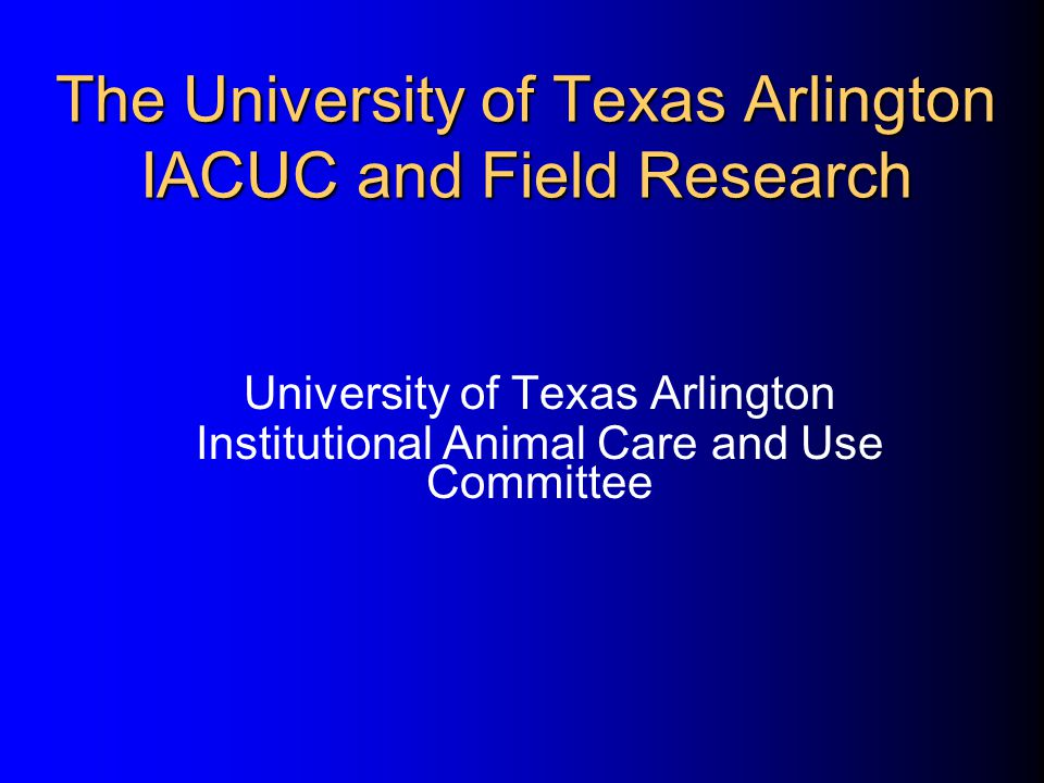 The University of Texas Arlington IACUC and Field Research University of Texas Arlington Institutional Animal Care and Use Committee