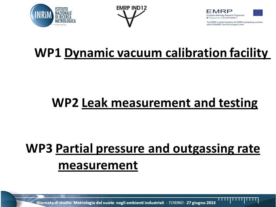 Giornata di studio Metrologia del vuoto negli ambienti industriali - TORINO - 27 giugno 2013 WP1 Dynamic vacuum calibration facility WP2 Leak measurement and testing WP3 Partial pressure and outgassing rate measurement