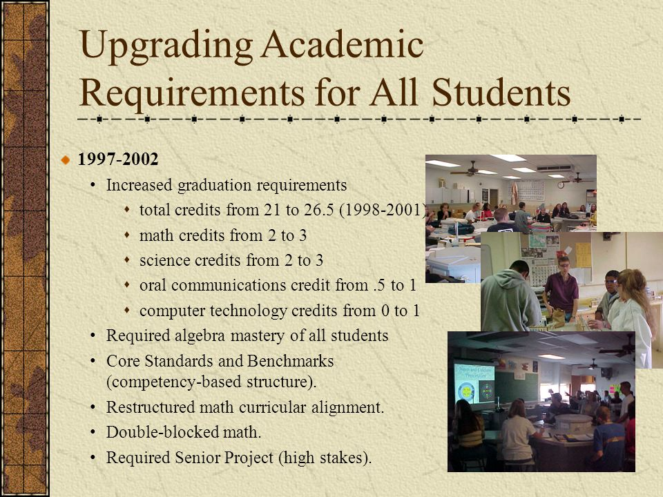 Upgrading Academic Requirements for All Students 1997-2002 Increased graduation requirements  total credits from 21 to 26.5 (1998-2001)  math credit