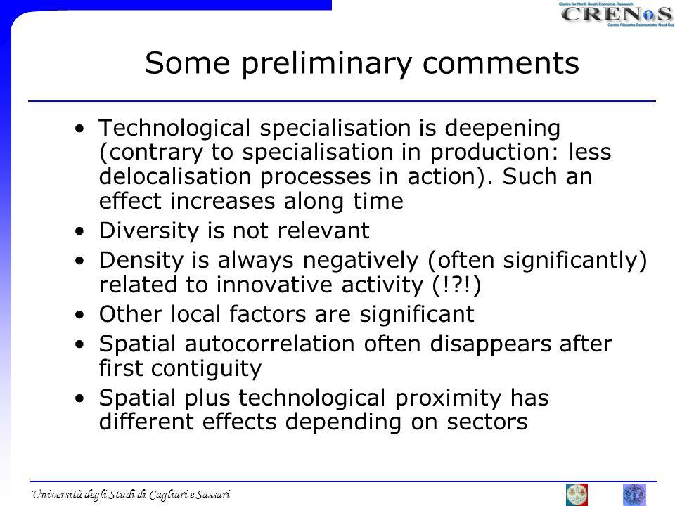 Università degli Studi di Cagliari e Sassari Some preliminary comments Technological specialisation is deepening (contrary to specialisation in production: less delocalisation processes in action).