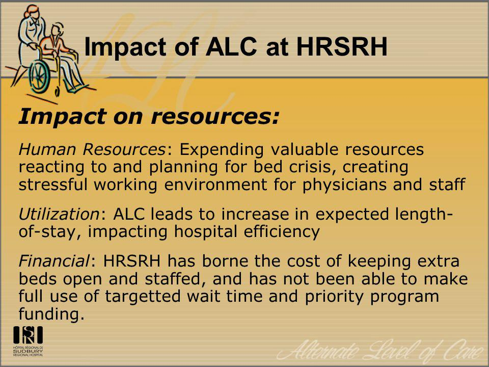 Impact of ALC at HRSRH Impact on resources: Human Resources: Expending valuable resources reacting to and planning for bed crisis, creating stressful