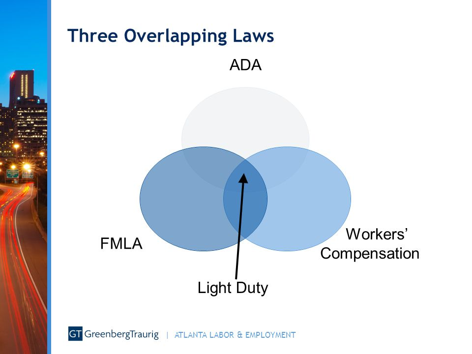 | ATLANTA LABOR & EMPLOYMENT ONE CARDINAL RULE The ADA, the FMLA, and Workers' Compensation statutes confer different rights on employees, and different obligations on employers.