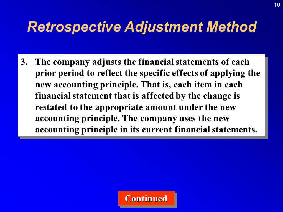 10 3.The company adjusts the financial statements of each prior period to reflect the specific effects of applying the new accounting principle.