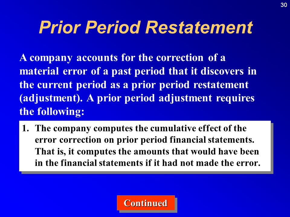 30 1.The company computes the cumulative effect of the error correction on prior period financial statements.