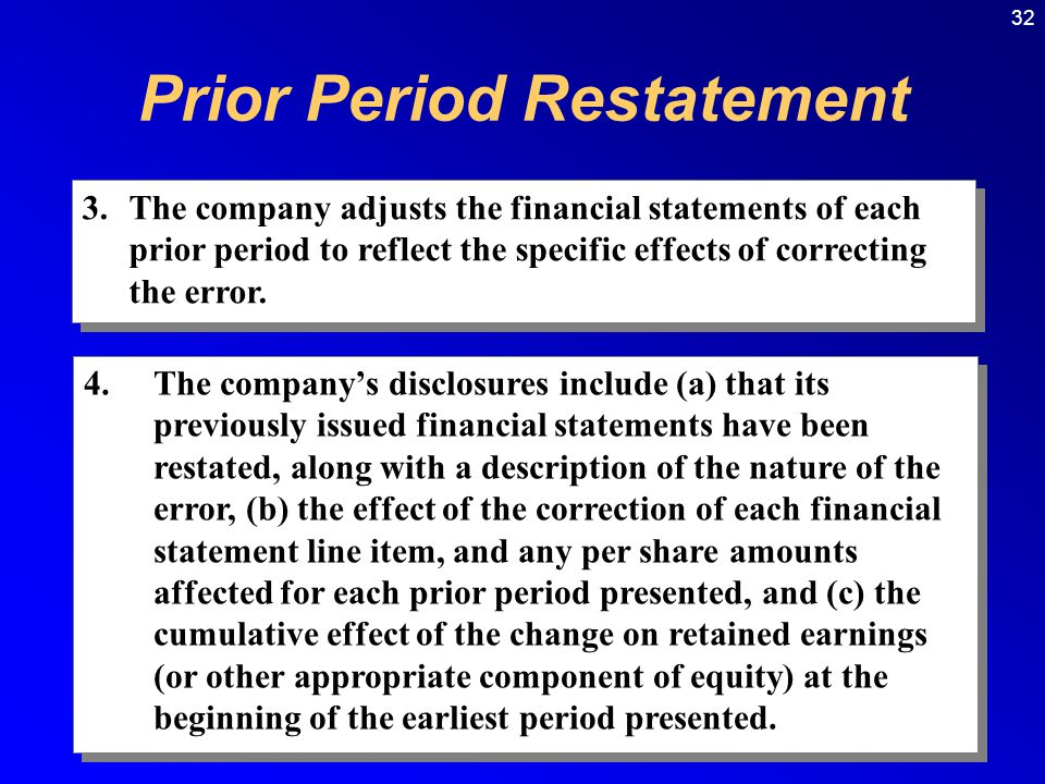 32 3.The company adjusts the financial statements of each prior period to reflect the specific effects of correcting the error.