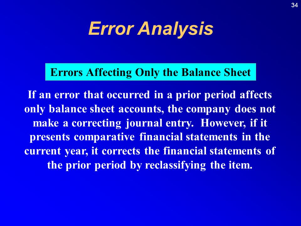 34 If an error that occurred in a prior period affects only balance sheet accounts, the company does not make a correcting journal entry.