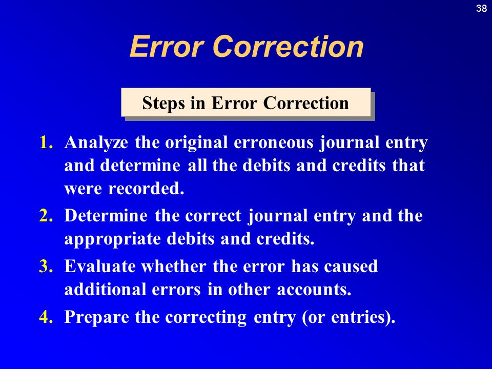 38 1.Analyze the original erroneous journal entry and determine all the debits and credits that were recorded.