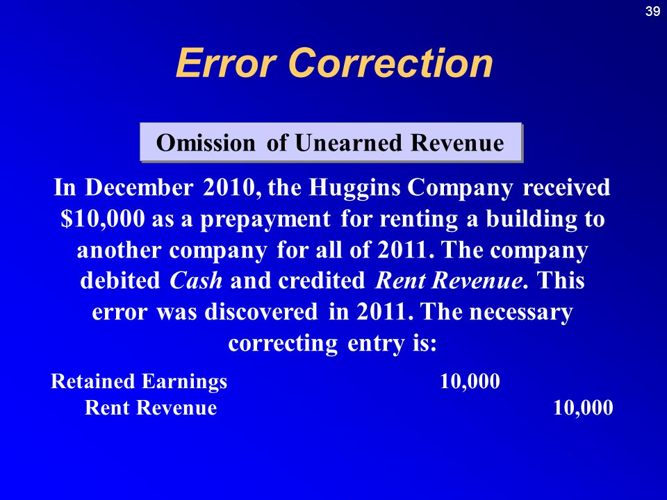 39 Omission of Unearned Revenue In December 2010, the Huggins Company received $10,000 as a prepayment for renting a building to another company for all of 2011.