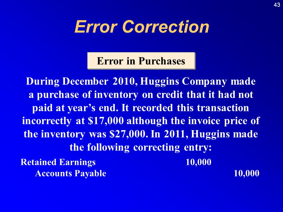 43 Error in Purchases During December 2010, Huggins Company made a purchase of inventory on credit that it had not paid at year's end.
