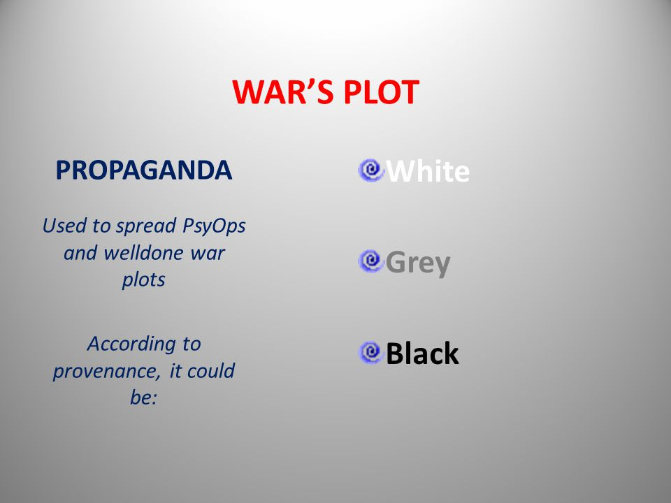 WAR'S PLOT White Grey Black PROPAGANDA Used to spread PsyOps and welldone war plots According to provenance, it could be: