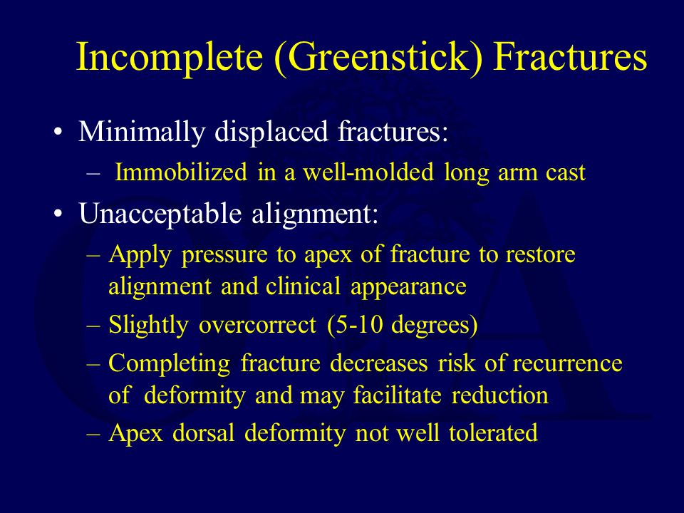 Incomplete (Greenstick) Fractures Minimally displaced fractures: – Immobilized in a well-molded long arm cast Unacceptable alignment: –Apply pressure to apex of fracture to restore alignment and clinical appearance –Slightly overcorrect (5-10 degrees) –Completing fracture decreases risk of recurrence of deformity and may facilitate reduction –Apex dorsal deformity not well tolerated