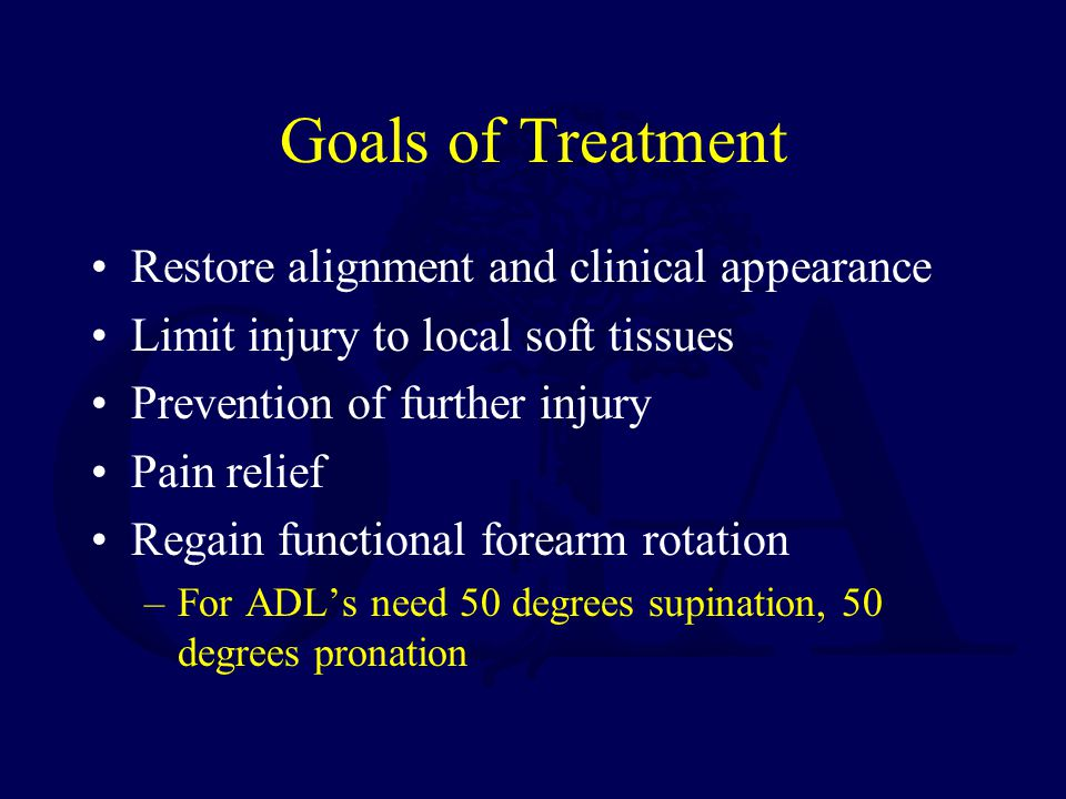 Goals of Treatment Restore alignment and clinical appearance Limit injury to local soft tissues Prevention of further injury Pain relief Regain functional forearm rotation –For ADL's need 50 degrees supination, 50 degrees pronation