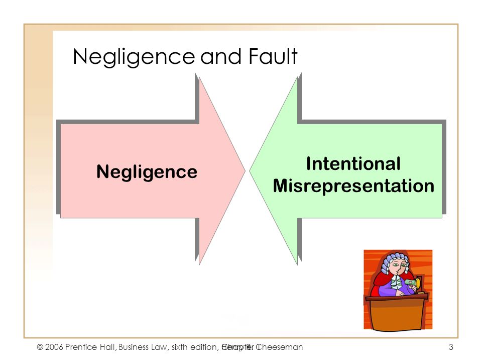 5 - 3 © 2006 Prentice Hall, Business Law, sixth edition, Henry R. CheesemanChapter 13 Negligence and Fault Negligence Intentional Misrepresentation