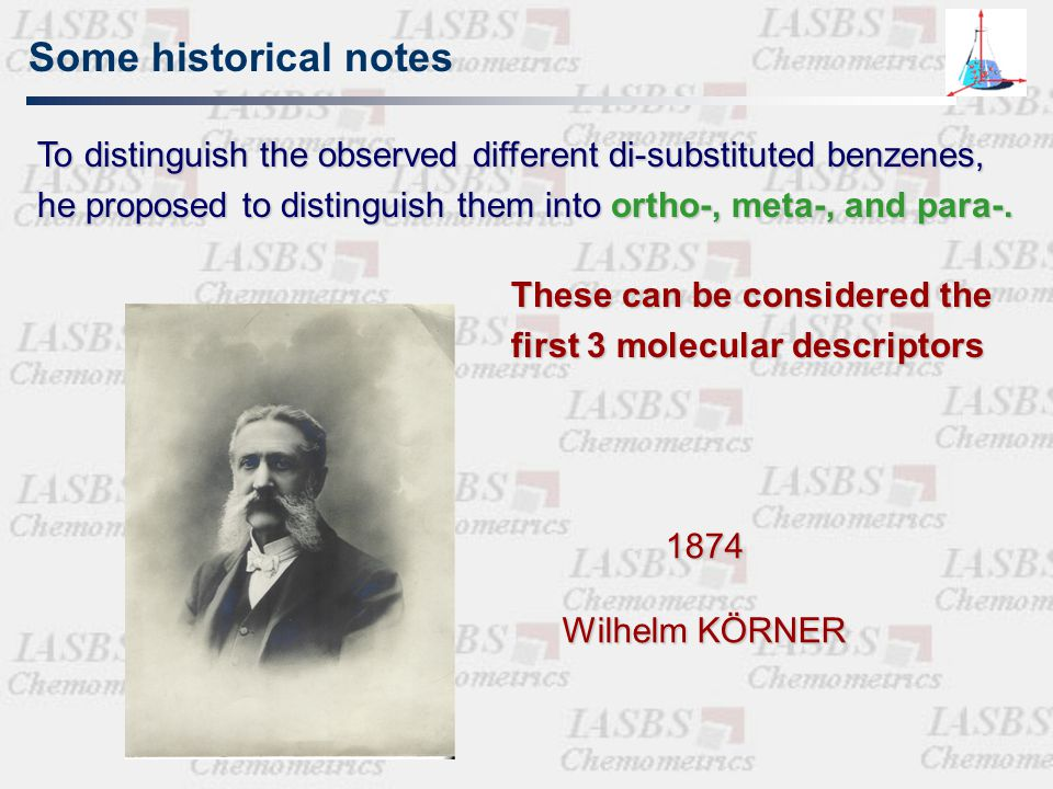 Historical note: fragment approach The biological activity of a molecule is the sum of its fragment properties common reference skeleton molecule properties gradually modified by substituents Congenericity principle QSAR styrategies can be applied ONLY to classes of similar compounds