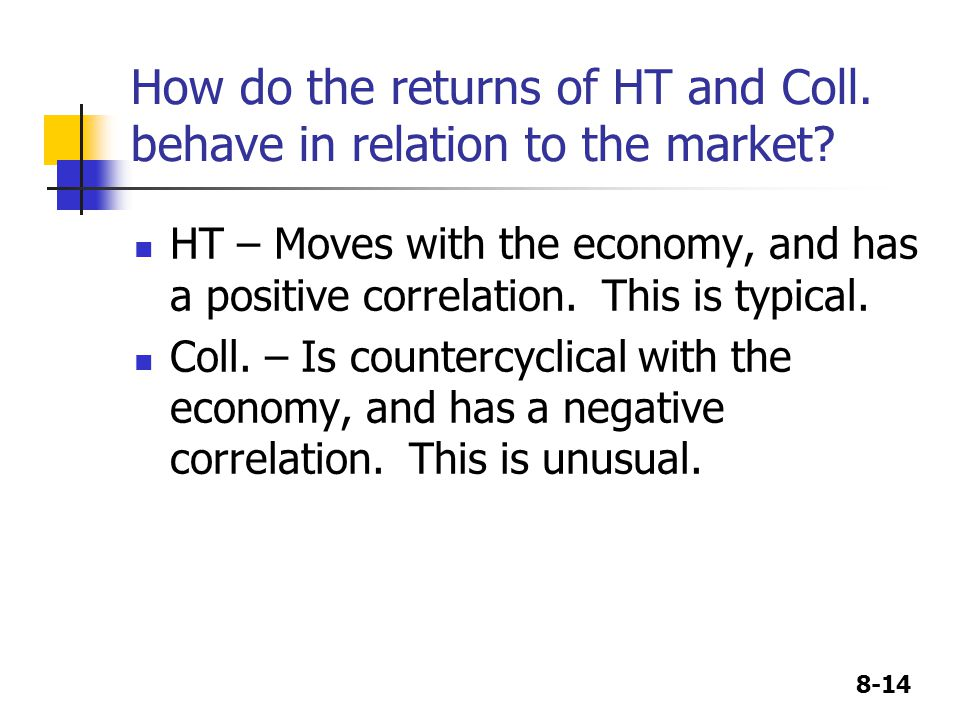 8-14 How do the returns of HT and Coll. behave in relation to the market? HT – Moves with the economy, and has a positive correlation. This is typical